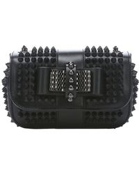 Christian Louboutin Black Leather 'Sweety Charity' Spiked Shoulder Bag - Lyst