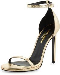 Saint Laurent - Jane Metallic Sandals - Lyst