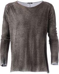 Avant Toi Distressed Effec Long Sleeved T T-Shirt - Lyst