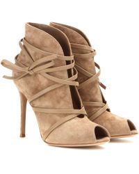 Gianvito Rossi Suede Open-Toe Ankle Boots brown - Lyst