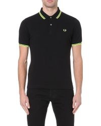 Fred Perry Soho Neon Cottonpiqué Polo Shirt Yellow - Lyst