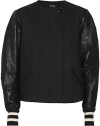 Isabel Marant Zenith Wool and Cotton-blend Twill and Leather Jacket - Lyst