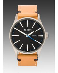 Nixon The Sentry Leather In Cognac - Lyst