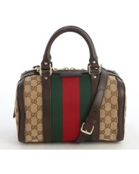 Gucci Beige Canvas 'Vintage Web' Striped Convertible Bag - Lyst