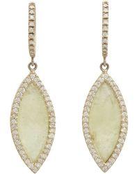 Monique Pean Atelier - Grey Sapphire & Pave Diamond Navette Drop Earring - Lyst