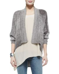 Eileen Fisher Blurred Mohair-blend Angled Cardigan - Lyst