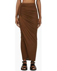 Givenchy Olive Jersey Ruched and Vented Dakar Skirt - Lyst