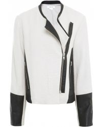 Helmut Lang Striped Jacquard & Leather Jacket - Lyst