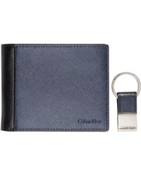 Calvin Klein Saffiano Leather Two-Tone Bifold Wallet & Key Fob - Lyst