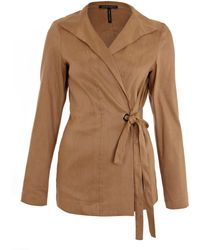 Sarah Pacini - Tan High Neck Side Tie Jacket - Lyst