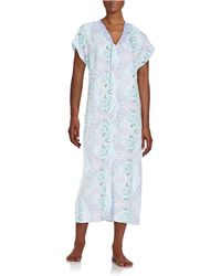 Miss Elaine - Short Sleeved Zip Front Caftan Robe - Lyst