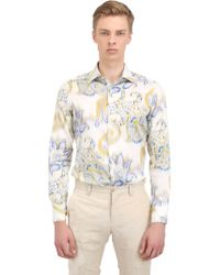 Etro Paisley Print Stretch Cotton Satin Shirt - Lyst