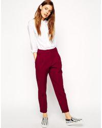 Asos Premium Peg Trousers In Bonded Crepe - Lyst