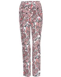 Stella McCartney Printed Silk Tapered Trousers - Lyst