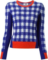 Sonia Rykiel Check Pattern Contrasting Panels Sweater - Lyst