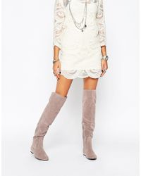 Daisy Street - Grey Flat Over The Knee Boots - Lyst
