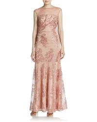 David Meister Illusion Lace Trumpet Gown - Lyst