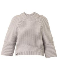 Balenciaga Wool and Alpacablend Cropped Sweater - Lyst