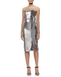 Halston Strapless Sequined Cascading-ruffle Dress - Lyst