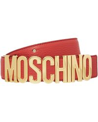 Moschino Red Logo Belt - Lyst