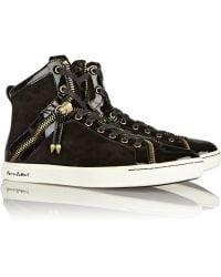 Balmain Patent-leather and Nubuck Sneakers - Lyst