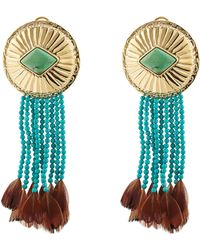 Aurelie Bidermann Navajo Earrings With Turquoise And Pheasant Feathers - Lyst