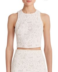 Rebecca Taylor Die-Cut Cropped Top white - Lyst