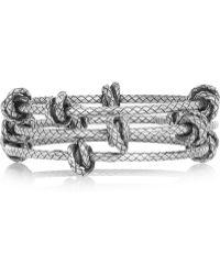 Bottega Veneta Set Of Three Intrecciato Sterling Silver Bracelets - Lyst