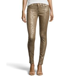 7 For All Mankind Gwenevere Gold Leaf Skinny Jeans - Lyst