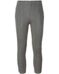 Pleats Please Issey Miyake Cropped Zig Zag Print Trousers - Lyst
