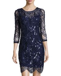 Marina Sequined Fish Scale Cocktail Dress - Lyst