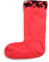 Hunter Geometric-cuffed Fleece Welly Socks - Lyst
