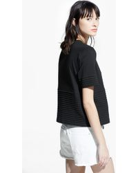 Mango Pleated Panel T-Shirt - Lyst