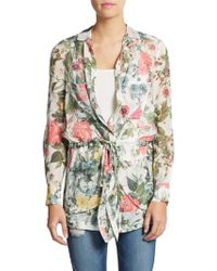 Haute Hippie His Girl Friday Floral Print Silk Jacket - Lyst
