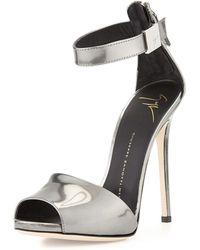 Giuseppe Zanotti Metallic Ankle-Strap Sandal - Lyst