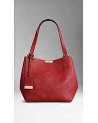 Burberry The Small Canter in Embossed Check Leather - Lyst