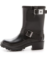 Michael by Michael Kors Devenport Lined Moto Rain Booties  Black - Lyst