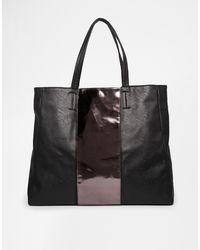 Asos Metallic Stripe Shopper Bag - Lyst