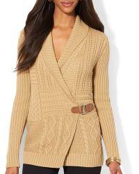 Ralph Lauren Lauren Patchwork Cable Knit Cardigan - Lyst