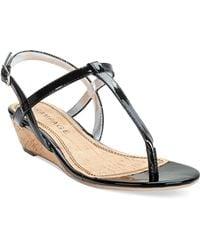 Rampage Selery Demi Wedge Thong Sandals black - Lyst