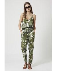 TOPSHOP - Palm Leaf Print Strappy Jumpsuit - Lyst