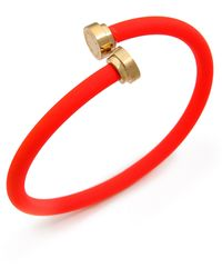 Marc By Marc Jacobs Rubberized Tubular Bangle Bracelet Black - Lyst