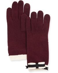 Portolano Cashmere-Blend Bow Tech Knit Gloves - Lyst