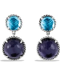 David Yurman Chatelaine Doubledrop Earrings with Black Orchid Blue Topaz - Lyst