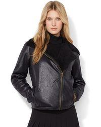Lauren by Ralph Lauren Petite Faux-shearling Moto Jacket - Lyst