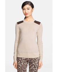 Kate Spade 'Genni' Leather Trim Wool Sweater - Lyst