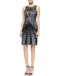 Sue Wong Sleeveless Illusionneck Cocktail Dress - Lyst