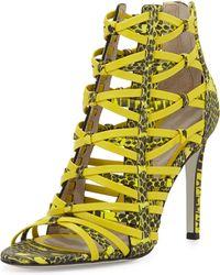 Jason Wu Strappy Snakeprint Leather Sandal - Lyst