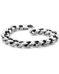 "Palmbeach Jewelry - Men's Polished Curb-link Bracelet In Stainless Steel 8 1/2"" Length - Lyst"
