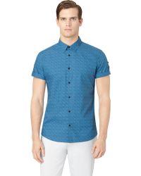 Calvin Klein Slim Fit Geo Print Sport Shirt - Lyst